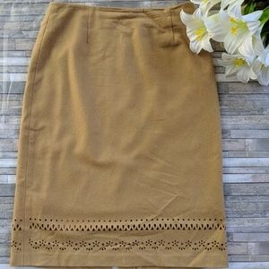 Tan Skirt Neiman Marcus 8 Bottom Cut Outs